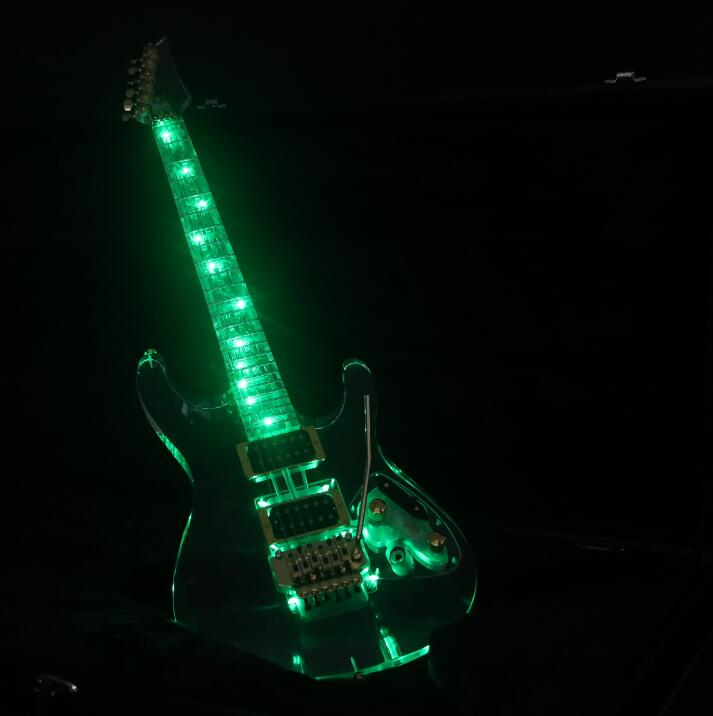 NOUVEAU Plein Cristal Électrique Guitare S Série Vert Led Lumière Floyd Rose Brige Or Matériel
