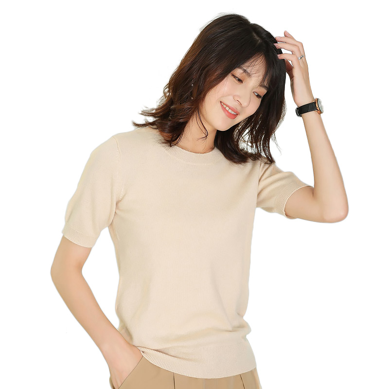 Women s 100 Cashmere Crewneck O neck Short Sleeve Knitted Pullover Base Tee Pure Cashmere Sweater