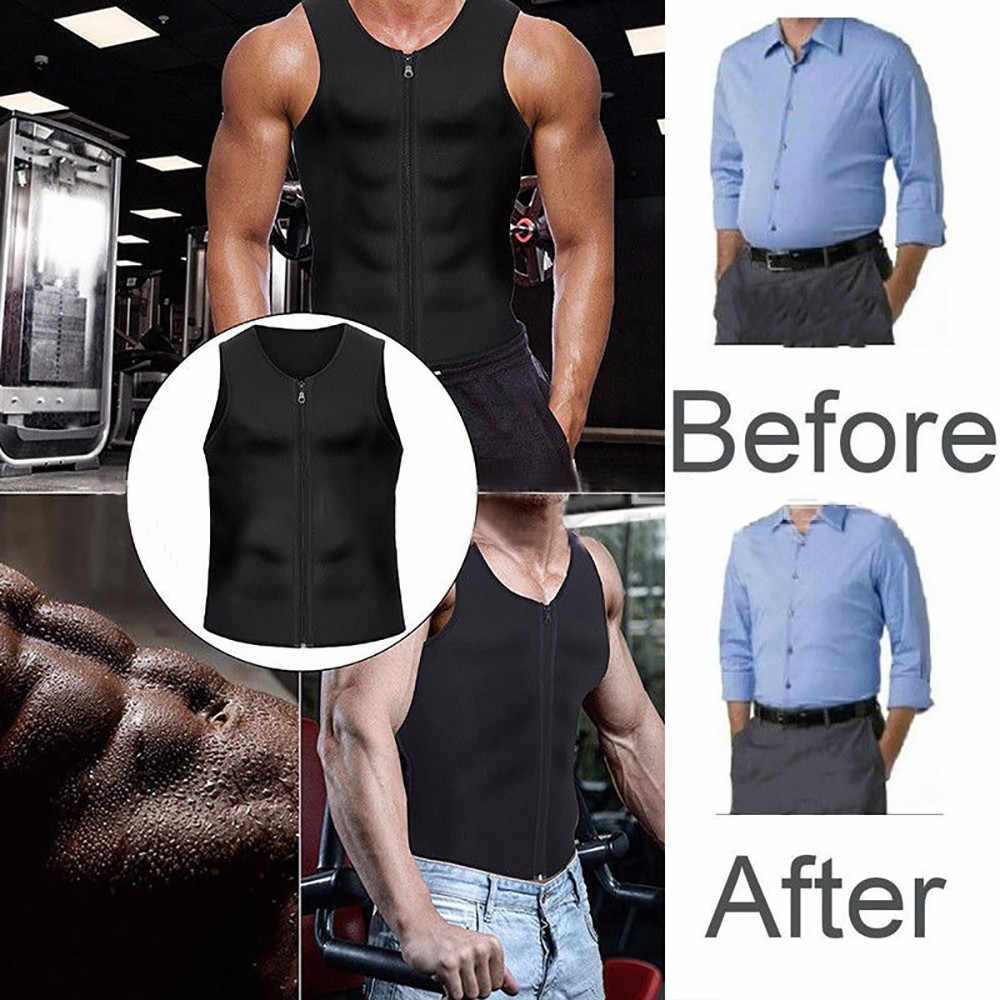 Men S Trainer Vest Body Shaper Tank Shirt Hot Thermo Slimming Sauna Suit Weight Loss Black Shapewear Ultra Neoprene Waist
