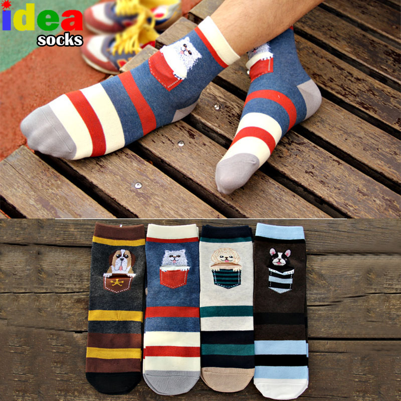 casual husky men brand hit color striped cotton socks popular cartoon dog sox pug pocket wallet man socks warm meias masculino
