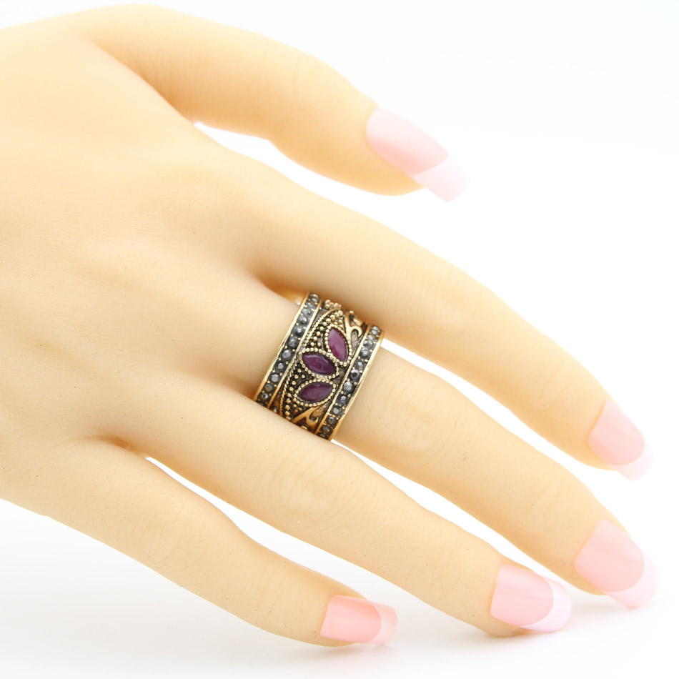 Whole Turkish Carved Arabesquitic Vintage Ring Antique Resin Riches Finger Rings Indian Bohemia Traditional Wedding Jewelry In From