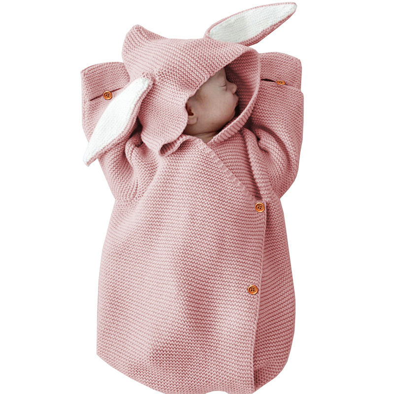 Cute Baby Blanket Cartoon Rabbit Ear Newborn Infant Baby Hooded Blankets Swaddling Photography Props Winter Knitted Jumpsuit Latest Technology Baby Bedding Blanket & Swaddling
