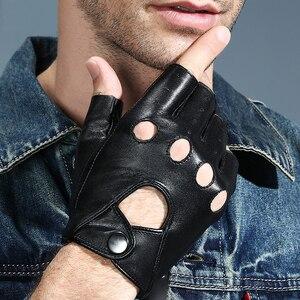 Image 1 - 2018 新メンズ · レディース指革手袋黒シープスキン手首ミトン屋外ハーフフィンガー機関車ドライビンググローブ AGB645