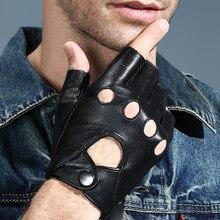 2018 New Men Women Fingerless Leather Gloves Black Sheepskin Wrist Mittens Outdoor Half Finger Locomotives Driving Gloves AGB645