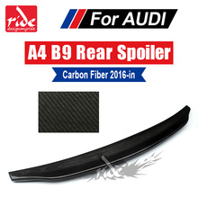 цена на Fits For Audi A4 A4a Rear Spoiler Wing Tail A4 B9 Caractere Style Carbon Fiber Rear Spoiler Rear Trunk Wing Car Styling 2016-in