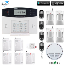 LCD Display Home Security GSM Alarm System English/Russian/Spanish/French Voice Wired Siren Kit SIM SMS Auto Dialer pir detect