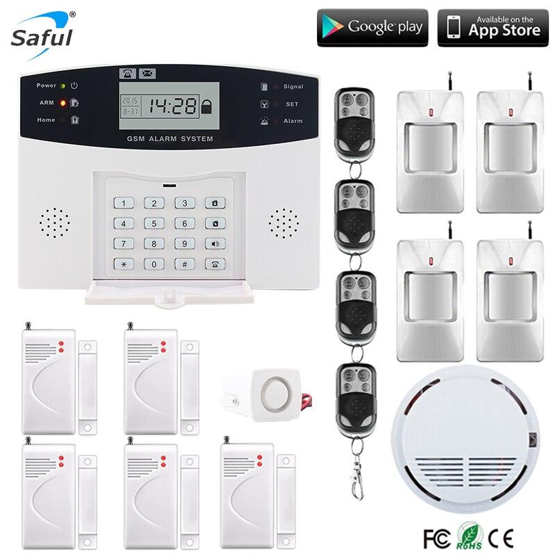 Système d'alarme GSM de sécurité à la maison d'affichage à cristaux liquides anglais/russe/espagnol/français Kit de sirène filaire de voix SIM SMS composeur automatique pir détecter