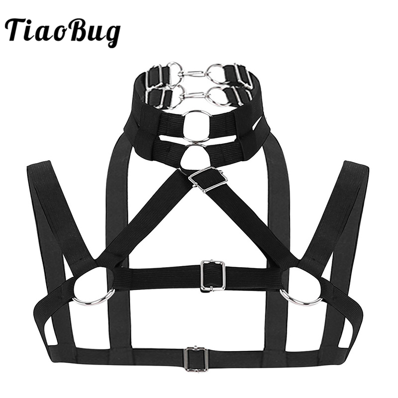TiaoBug Men Elastic Body Chest Muscle Harness Fancy Club Party Costume Hot Sexy Men Straps Crop Top Metal Ring BDSM Bondage Belt