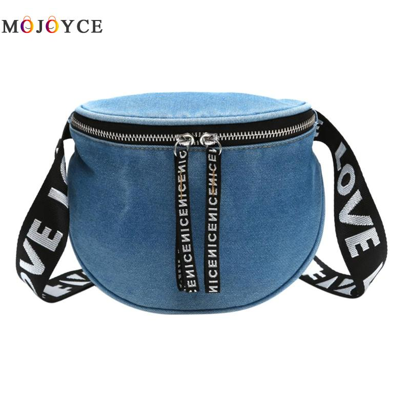 Denim Casual Fanny Pack Women Girls Waist Bag Money Phone Chest Bags Travel Zipper Belt Pouch fashionable high waist solid color zipper fly denim skirt for women