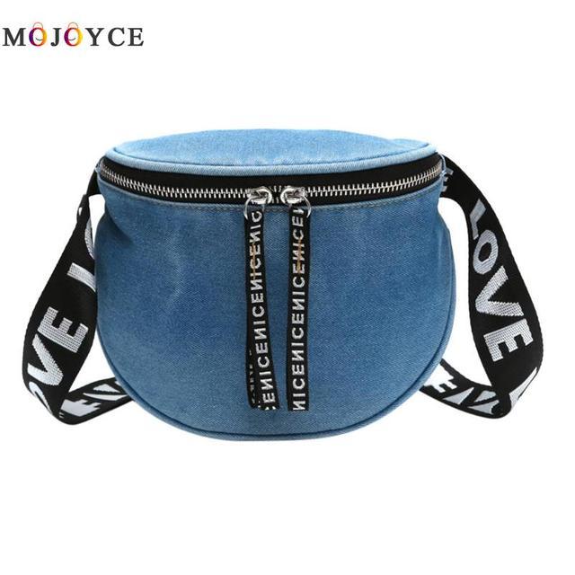 Denim Casual Fanny Pack Women Girls Waist Bag Money Phone Travel Zipper Belt Bags Heuptas Pochete