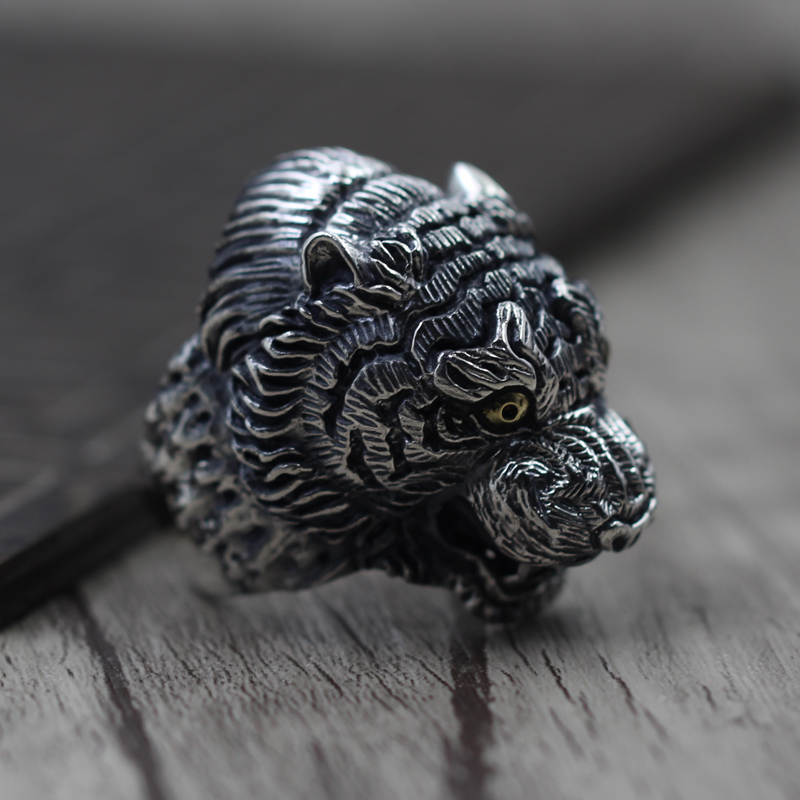 Vintage Silver domineering king of beasts RING 925 sterling silver jewelry making men tiger ring opening vintage skeleton skull king 925 sterling silver men ring
