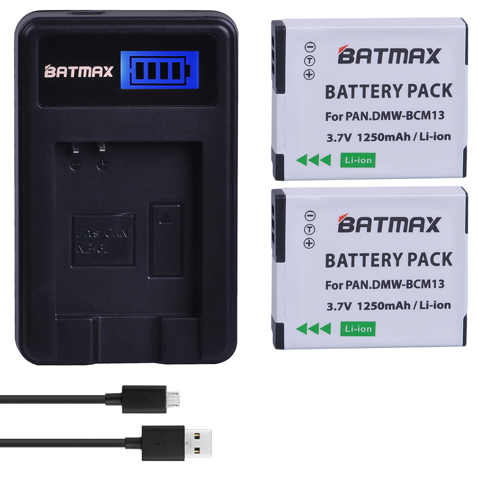 2Pc DMW-BCM13E DMW-BCM13 BCM13 Battery + LCD Charger For Panasonic Lumix ZS40 / TZ60, ZS45 / TZ57, ZS50 / TZ70, ZS27 / TZ37,TZ41