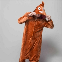 JINUO Christmas Adult Onesie Funny Cartoon Pajama Emoji Poo Costume Women Pyjama Party Suit Winter Flannel