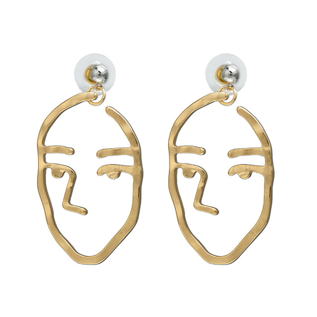 62d102e9b3399 Newest Fashion Simple Abstract Earrings For Women Funny Human Face Drop  Earring Gold Party Punk Style Cute Wholesale Jewelry-in Drop Earrings from  ...