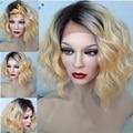 8A rubia del pelo humano peluca llena del cordón #1bT613 dos tonos ombre brasileño pelucas llenas del cordón ombre ombre del frente del cordón pelucas de cabello humano peluca
