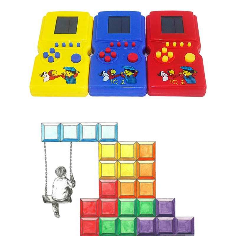 Classic Handheld Game Machine Brick Game Kids Game Machine With Game Music Playback Without Battery- Random Colors