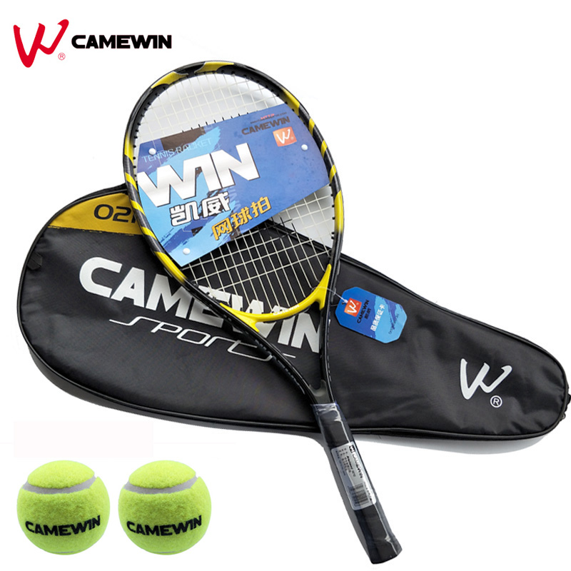 Dynamic 1 Pcs 75cm Aluminum Alloy Tennis Racket Camewin Brand Tennis Racket With Bag (2 Tennis Balls Free Gift) Color: Black Yellow Can Be Repeatedly Remolded.