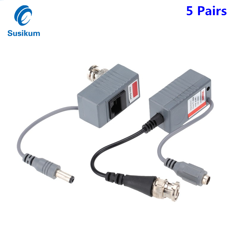 5Pairs 10Pieces ABS Plastic CCTV Camera Video Balun BNC UTP RJ45 Video Balun With Audio And Power Over CAT5/5E/6 Cable