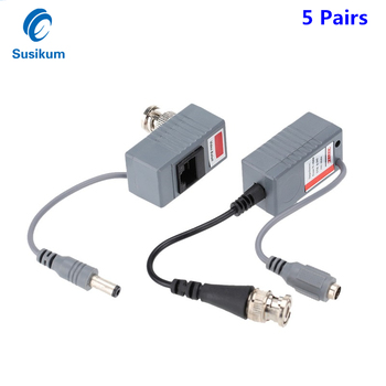 5Pairs 10Pieces ABS Plastic CCTV Camera Video Balun BNC UTP RJ45 Video Balun with Audio and Power over CAT5/5E/6 Cable 4 channel active power video balun transmission 4 ch active video receiver utp video balun hub twisted pair female bnc keycube