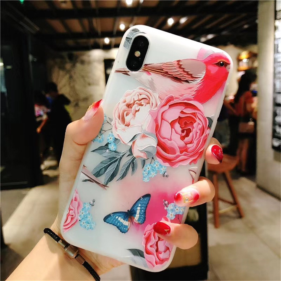 MOUSEMI Luxury 3D Silicone Case For iPhone 6 7 6S 8 Plus 5S SE X XS MAX XR Shockproof Flower Phone Case For iPhone 6 7 Case Girl (12)