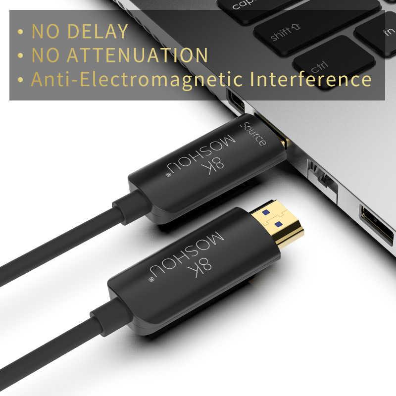Kabel Serat Optik HDMI 2.1 48Gbps Ultra High Speed 8K 4K 120 60Hz UHD HDR Tinggi antarmuka Multimedia Definisi Moshou Arc CEC