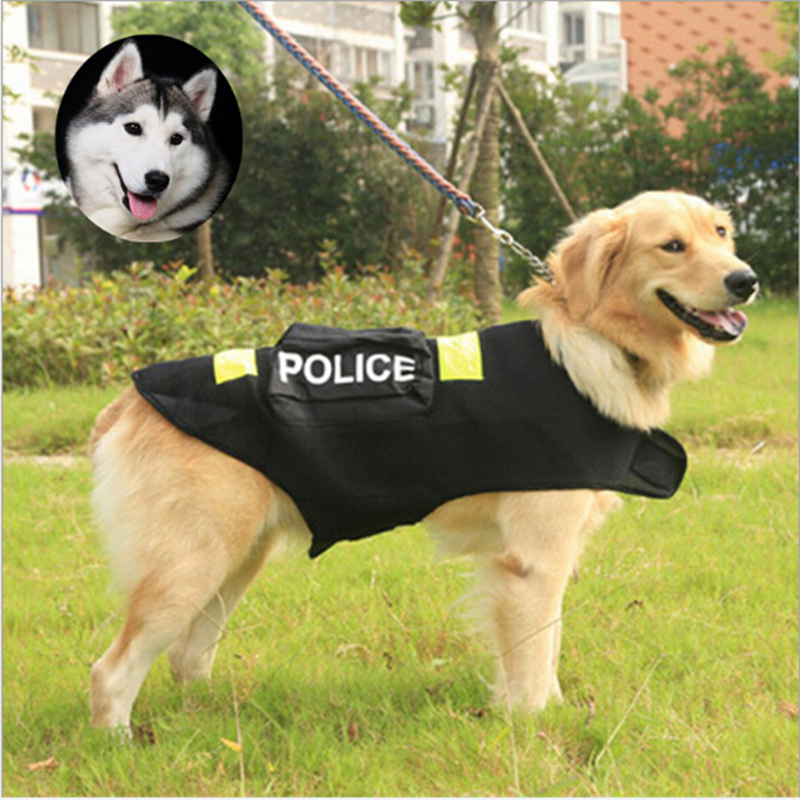 2017 New Reflective Big Cat Dog Clothing Police Large Pet Clothes Riot Police Style Coat Vest S/M/L/XL/XXL