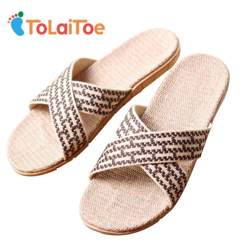 ToLaiToe Men's Fashion Linen Home Slipper Summer Cool Crosses Belt Sweat Non-slip Slipper Comfortable Lattice Indoor Shoes tolaitoe autumn