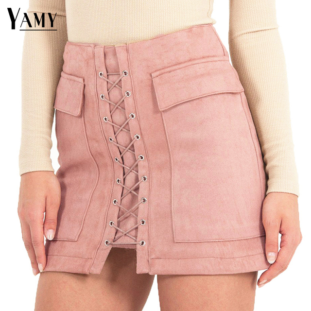 ac0de2cb75 Vintage High Waist External Pocket Tight Suede Lace Up Skirts Womens Autumn  Winter Thick Pencil Skirt Women Preppy Mini Skirt