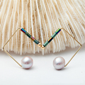 Fashion Earrings Women, natural pearl ear clip Geometric