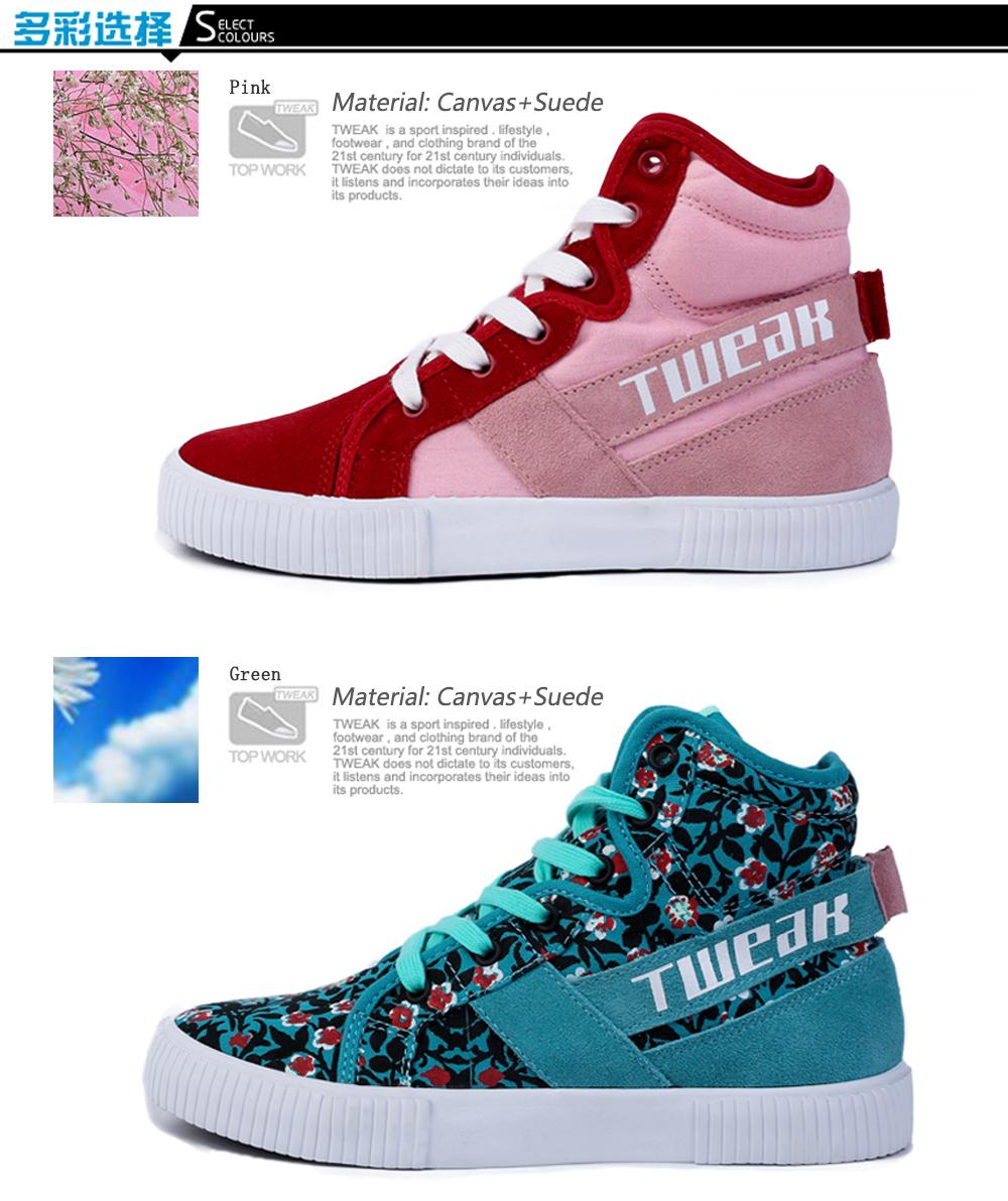 429f06643ef19 US $66.0 |Tweak Women Leather High Top Stylish Lace up Sneakers  Skateboarding Shoes Pink Flower Black 2017-in Skateboarding from Sports &  ...