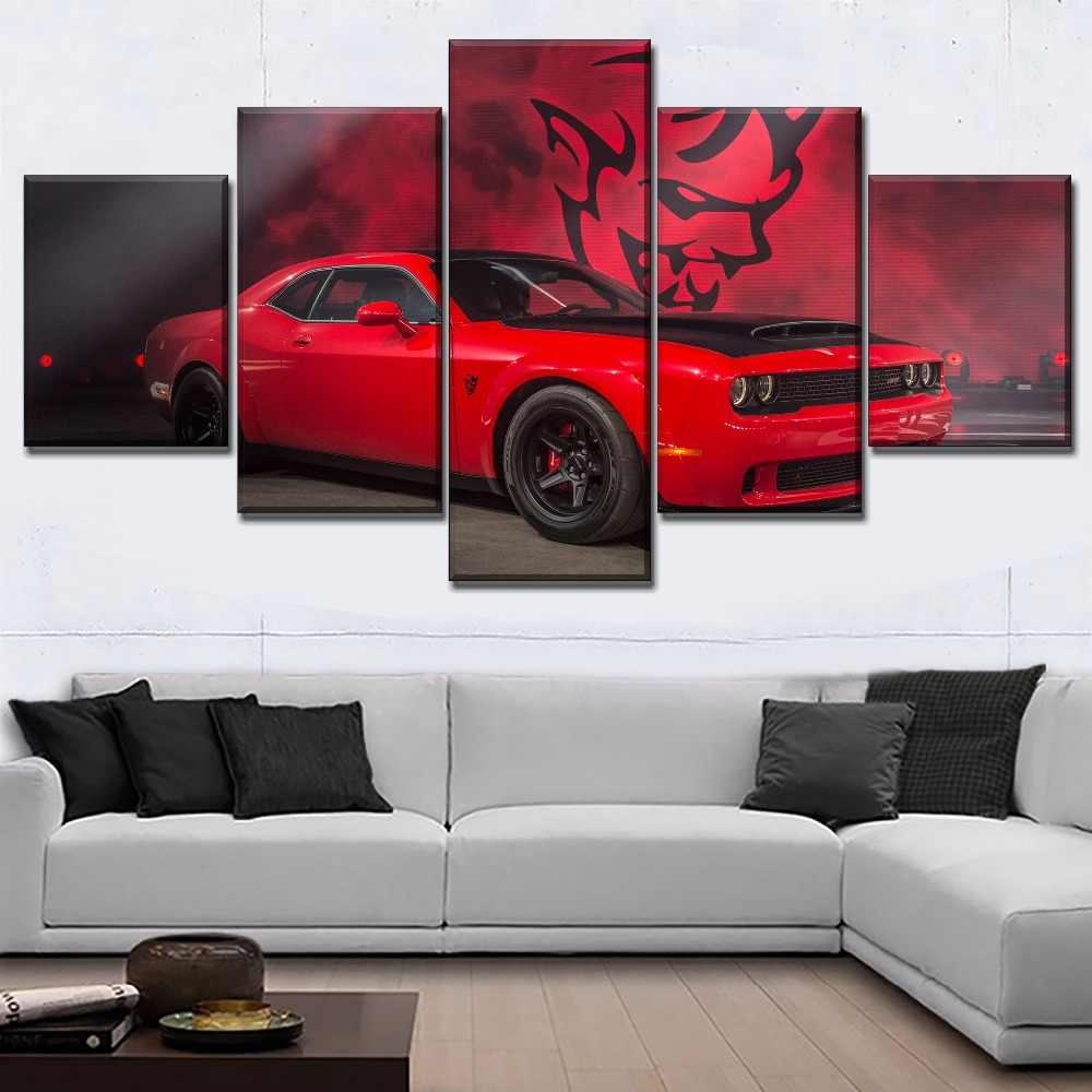 Canvas Modern Picture Home Decoration Red Muscle Car Dodge Challenger Painting Wall Art Prints Poster Modular Frame Living Room