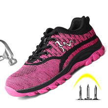 2019 Summer Woman Steel Work Safety Shoes Flying Woven Smash-proof Puncture Breathable deodorant Lightweight Outdoor Work Boots