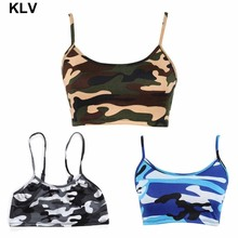 Womens Crop Top Sexy Camouflage Printed Halter Sleeveless Blouse Shirts Bra halter printed fringed crop top for women
