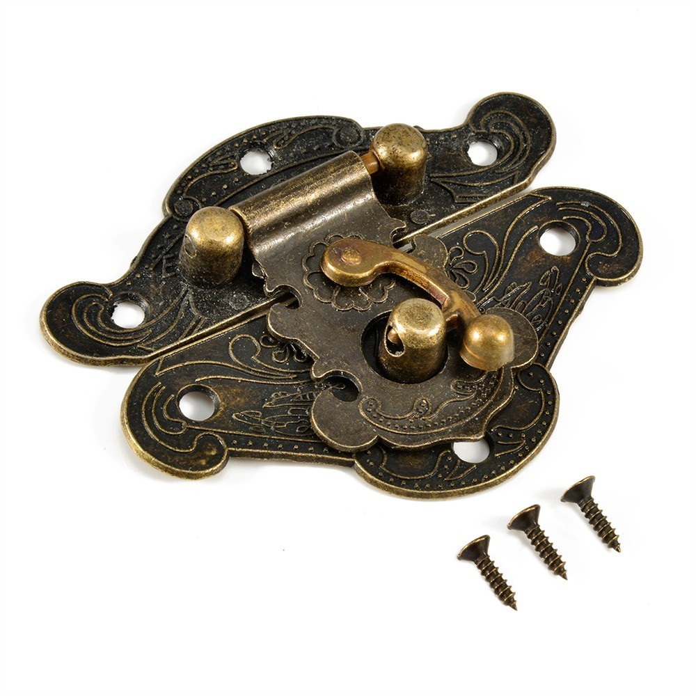 4PCS Antique Bronze Hasp Latch Jewelry Wooden Box Lock Cabinet  Case Lock In Lf