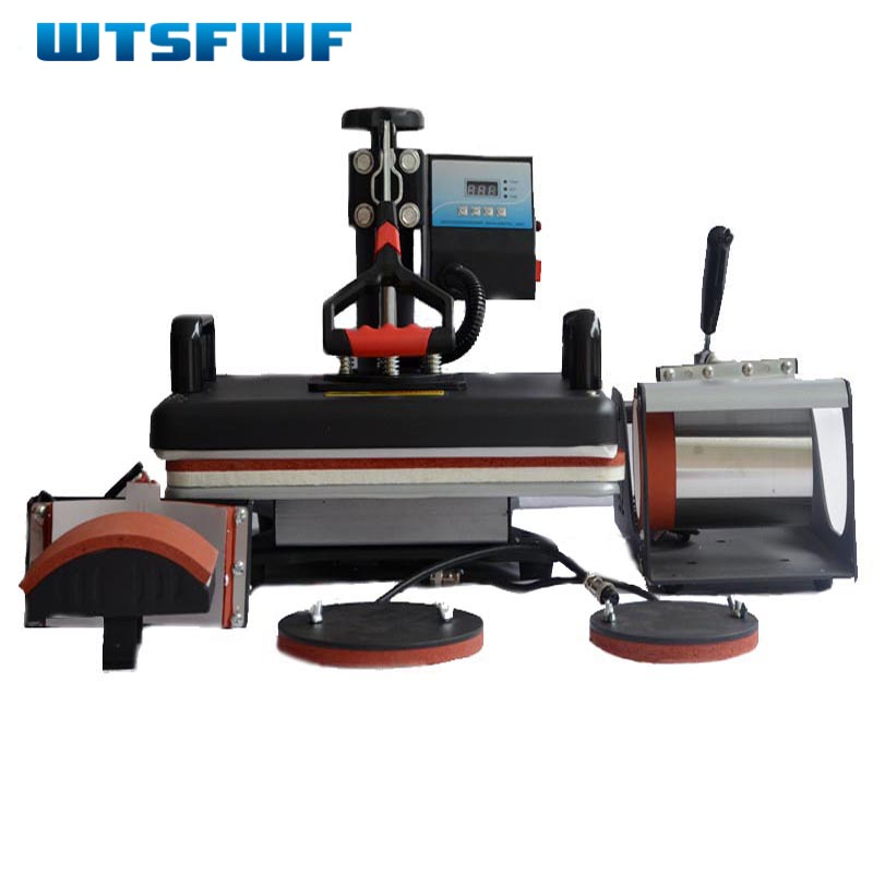 Wtsfwf 30*38CM 5 in 1 Combo Heat Press Printer 2D Sublimation Vacuum Heat Press Printer for T-shirts Cap Mug Plates cheap manual swing away heat press machine for flatbed print 38 38cm