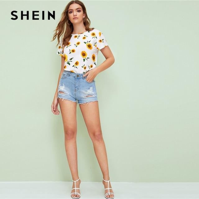 SHEIN Sunflower Print Top Women Clothing 2019 Casual White Summer Cap Sleeve Round Neck T Shirt Korean Clothes Tops