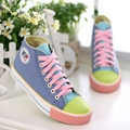 Color block decoration high canvas shoes for women 2017 female shoes candy color casual shoes women shoes