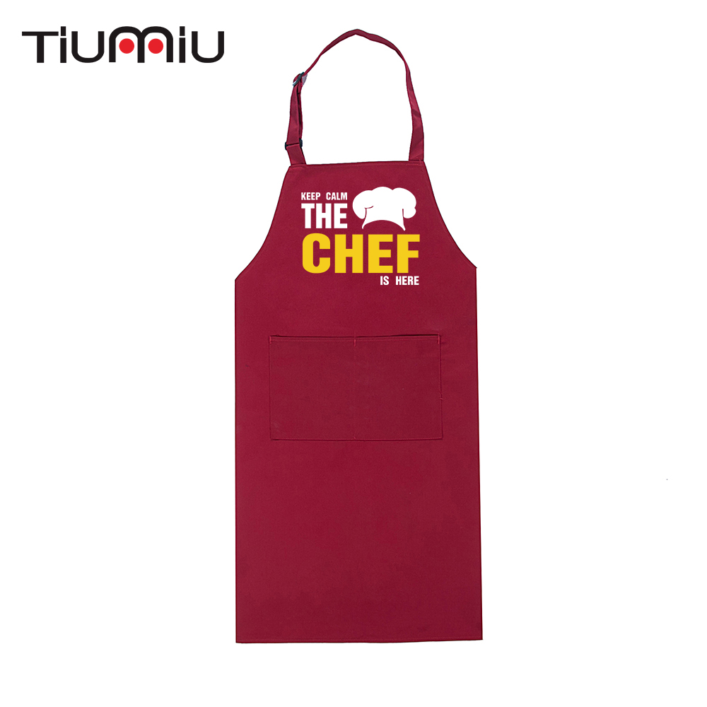 The Chef Is Here Funny Design Print Adjustable Halter Long Aprons Restaurant Hotel Kitchen Chef Workwear Cafe Food Service Apron