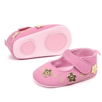 Newborn Baby Girl Shoes White Classic Floral Embroidered Soft Shoes Prewalker First Walker Toddler Kids Shoes 0 12M