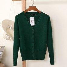 Knitted Cardigan V-Neck Long Sleeve Crochet