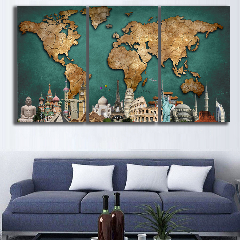 3 panels hd world map monuments wall art picture home decoration 3 panels hd world map monuments wall art picture home decoration living room canvas print wall picture printing frame in painting calligraphy from home gumiabroncs Gallery