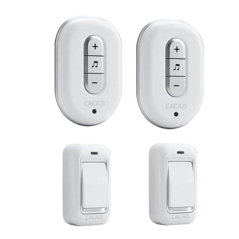 CACAZI Wireless DoorBell No need Battery Waterproof smart Door Bell Cordless 120M Remote AC 110V-220V 2 transmitters+2 Receivers kinetic cordless smart home doorbell 2 button and 1 chime battery free button waterproof eu us uk wireless door bell