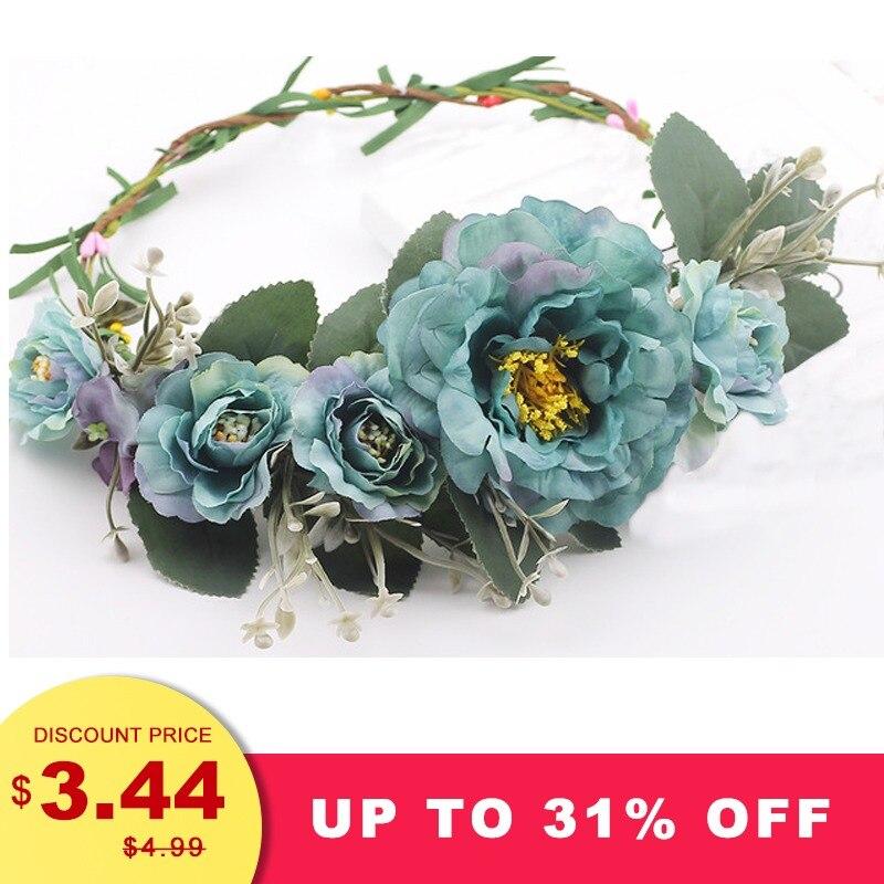 Haar-accessoires Für Damen Awaytr Große Blume Frauen Pfingstrose Blume Kranz Stirnband Floral Garland 2019 Weibliche Haar Zubehör Stirn Kranz Kopfschmuck