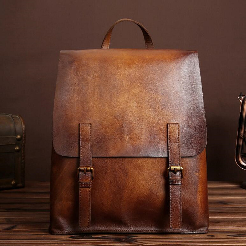 Genuine Leather Men Bag Men Backpack Fashion Male School For Teenage Backpack Cow Leather High Quality Travel Bag Japanese Style padieoe 2017 genuine leather new fashion men luxury male bag high quality waterproof laptop messenger travel backpack school bag