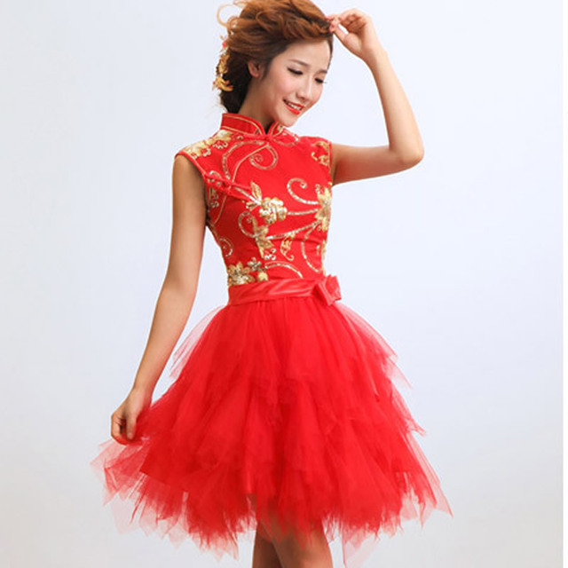 Red Lace Chinese Traditional Dress Women Short Cheongsam Dress