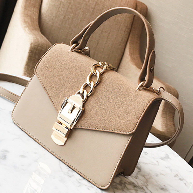 Luxury Brand Women Bag Suede Frosted Leather Shoulder Bags Vintage Women Gold Locks Chain Handbags Famous Designer Flap Tote Bag 2016 new hot luxury plaid women bags handbags high quality leather bags for women shoulder bag famous brand chain shell bag
