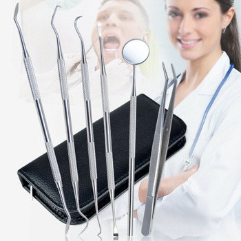 6pcs Dental Tools Kit Teeth Tartar Scraper Mouth Mirror Oral Pick Tool Teeth Scaler Stainless Steel Individual & Professional