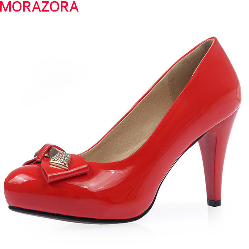 MORAZORA spring summer women high heels shoes with butterfly knot round toe shallow slip on thin heel female pumps moonmeek new arrive spring summer female pumps high heels pointed toe thin heel shallow party wedding flock pumps women shoes