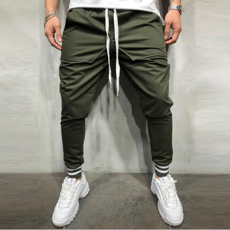 New Fashion Joggers Elastic Pants Brand Male Trousers Casual Pants Sweatpants Hip Hop Drawstring Ankle-Tied Pants