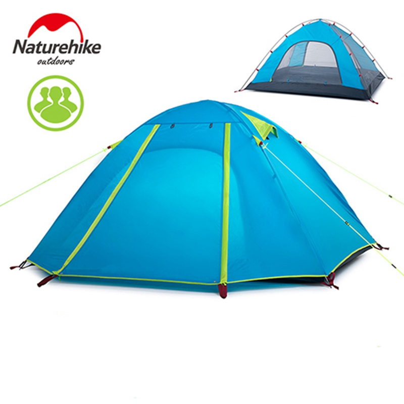 Outdoor 3 Person Hiking Camping Tent Ultralight Nylon Silicone Double layer Waterproof 210T Tents Travelling Camping Equipment nh cloud outdoor single person camping tent anti rain 4seasons ultraportability 20d nylon silicone cated waterproof 8000mm